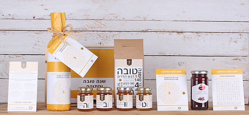 שנה דבש ויין - מארז ארבעה סוגי דבש איכותי עם יין ומעדן פרי