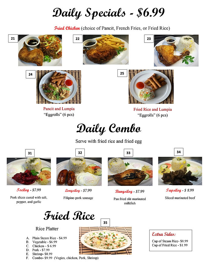 Daily Specials & Combos