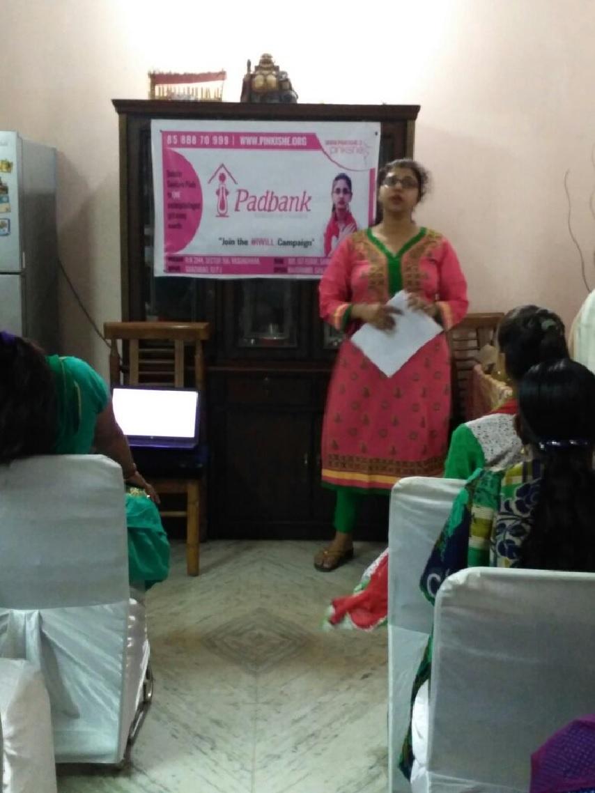 menstrual hygiene workshop nd pad distribution- Ghaziabad (28th Mar) 2
