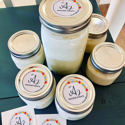 Hand-poured soy candle in mason jar