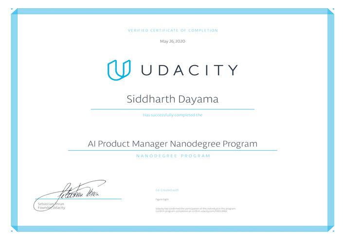 Udacity AI Product Manager Nanodegree
