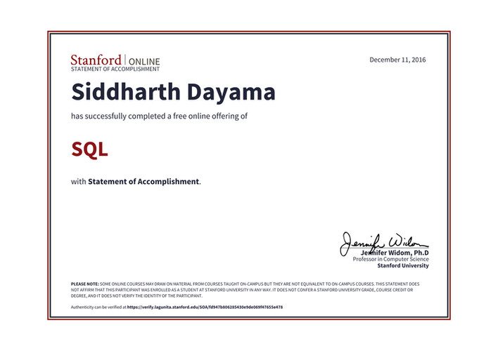 Stanford University SQL