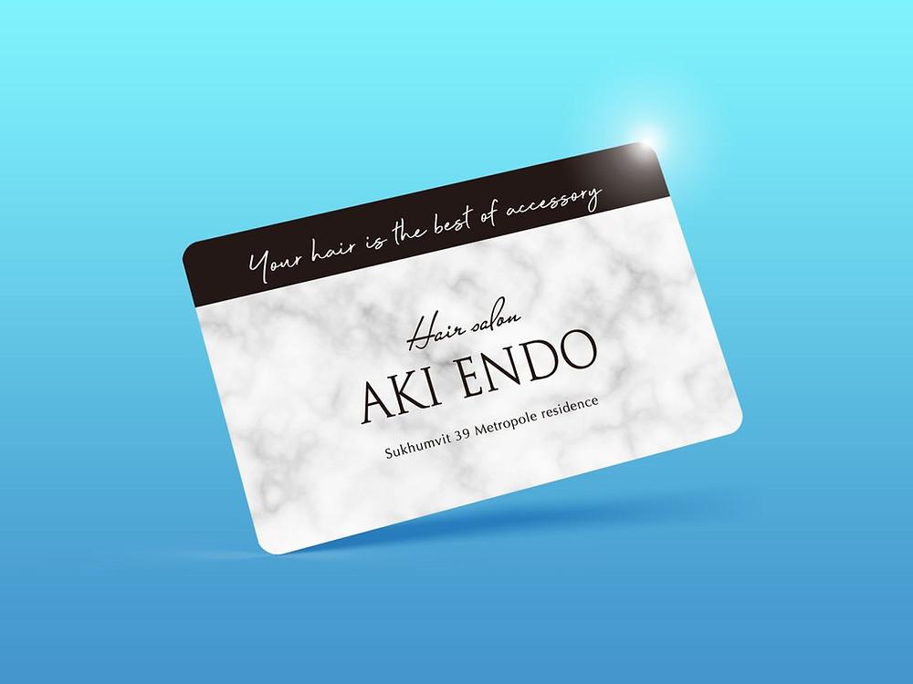 バンコクのヘアサロン『AKI ENDO』さまのメンバーズカードをデザインさせていただきました