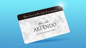 【メンバーズカード デザイン】バンコクのヘアサロン『AKI ENDO』さま