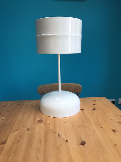 Hand crafted table lamp made from recycled materials