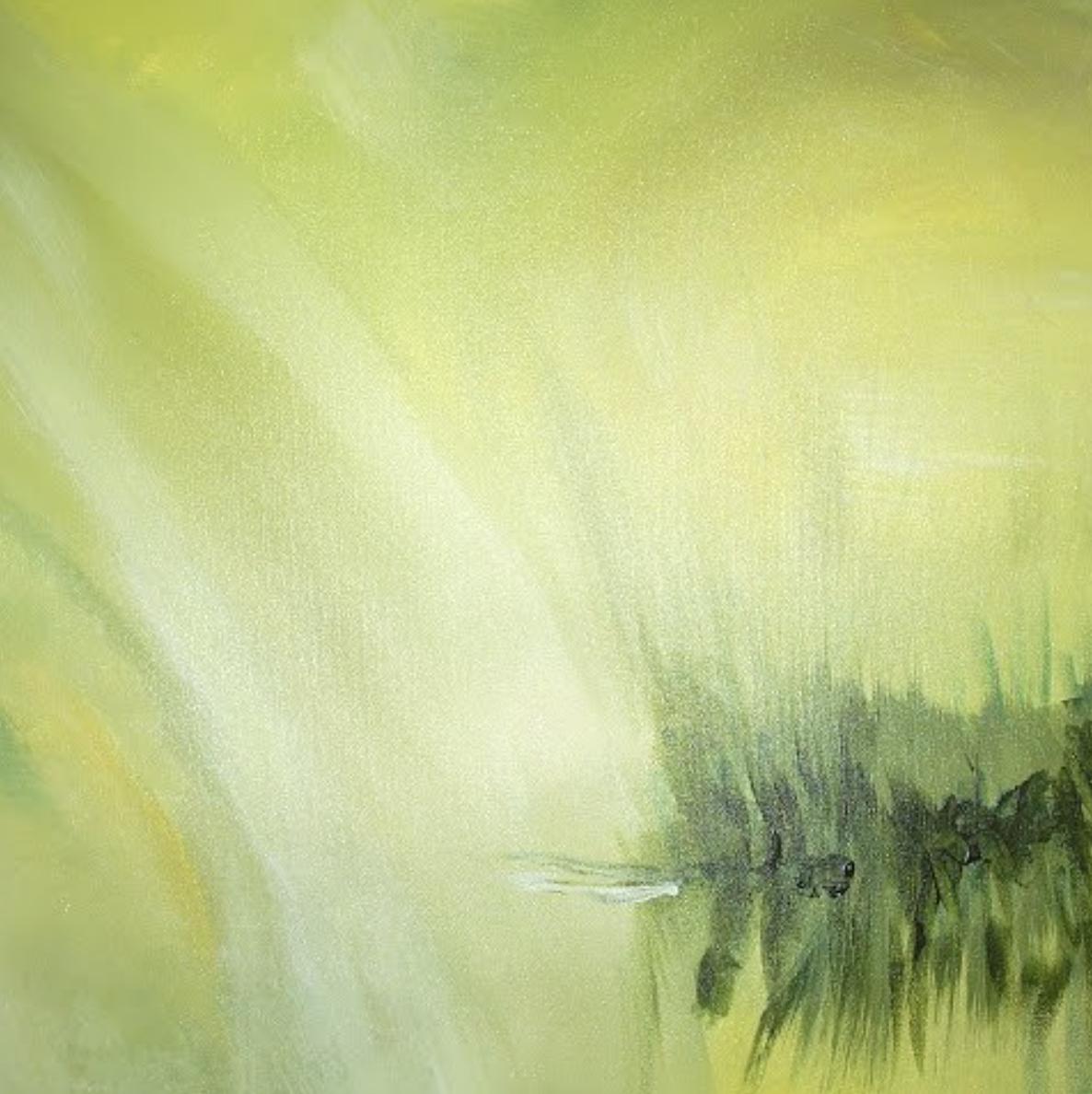 Olivgrüne Landschaft 60x60 cm