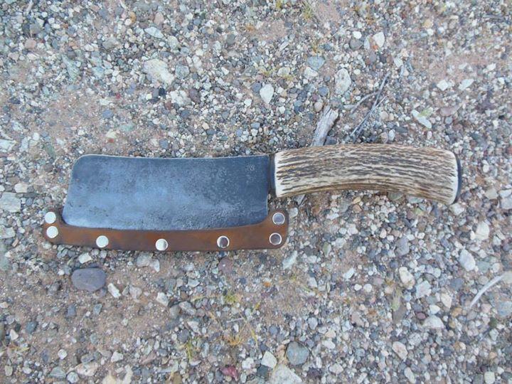 cleaver with elk antler handle