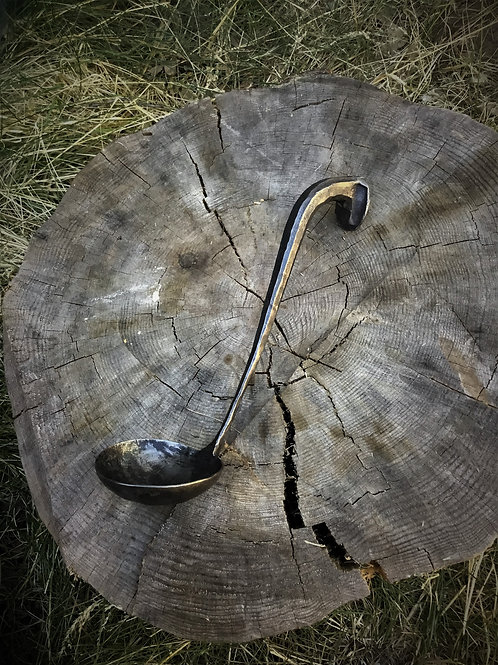 Ladle, forged from a railroad spike