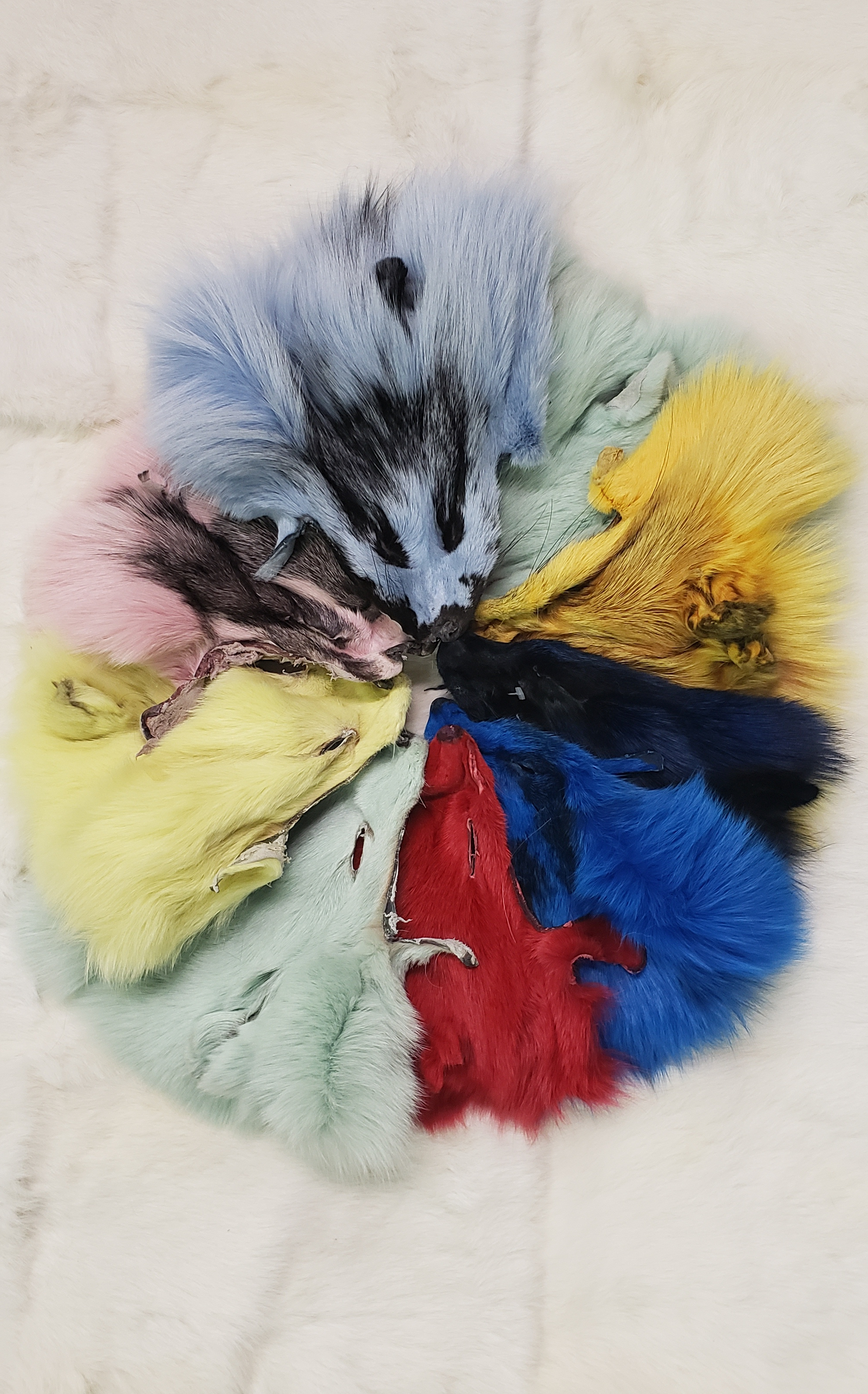 DYED FOX HEADS