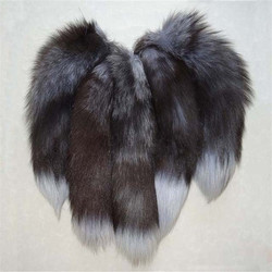 SILVER FOX TAILS ON BALL CHAIN