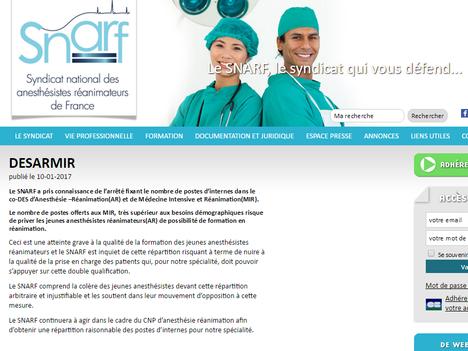 Le SNARF soutient le mouvement des Jeunes Anesthésistes Réanimateurs.