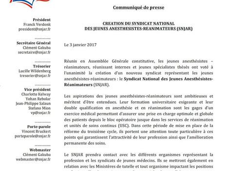 Création du Syndicat National des Jeunes Anesthésistes-Réanimateurs