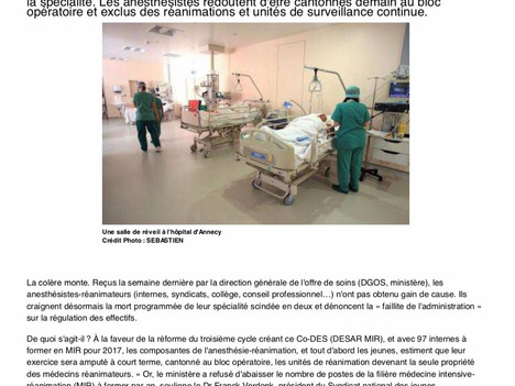 La spécialité d'anesthésie réanimation en danger !