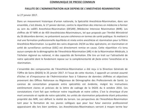 Faillite de l'Administration aux dépens de l'Anesthésie-Réanimation: appel aux Ministres!