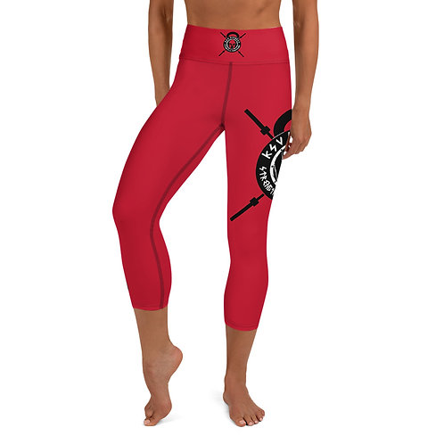 Capri Leggings Bright Red KSV Logo 2