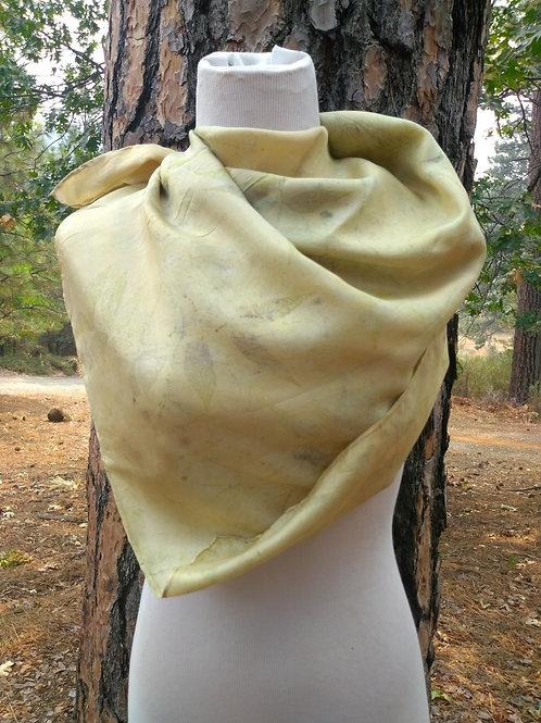 Botanically Printed Silk Scarf Hint of Gold