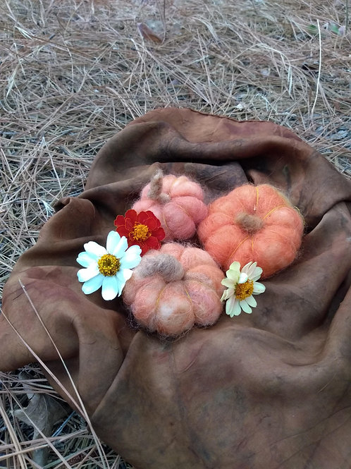 Three Needle Felted Pumpkins and Silk for Fall Display
