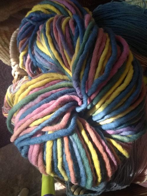 Rainbow Dyed Wool Fingerknitting Yarn