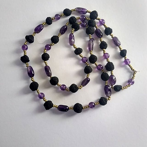 Rose Petal and Amethyst Necklace