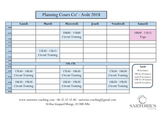Planning cours Co - Août
