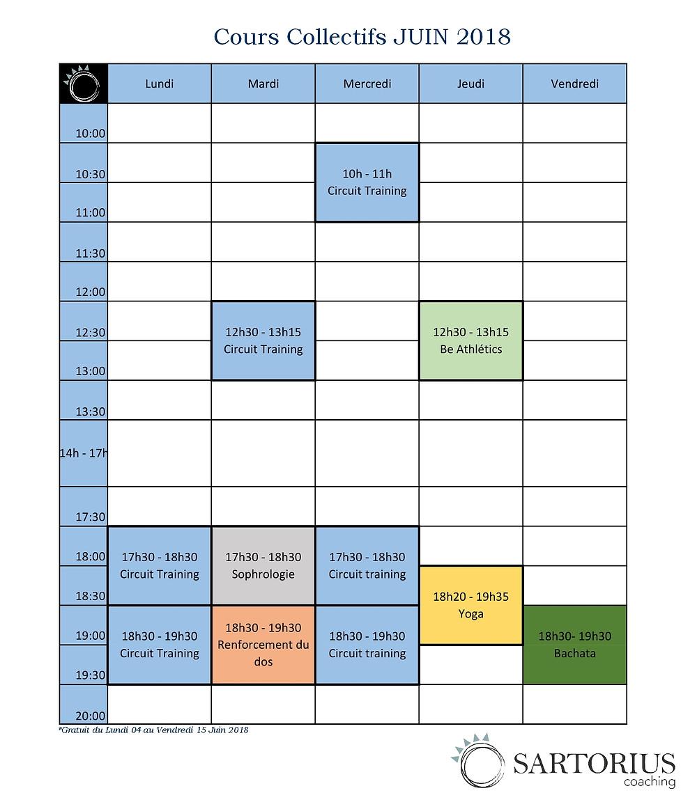 Planning cours co Juin 2018 - Sartorius