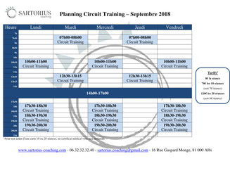 Planning Cours Co - Septembre 2018