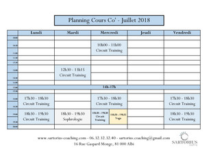 Planning cours Co - Juillet