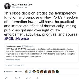 2018 03 29 Glomar tweet