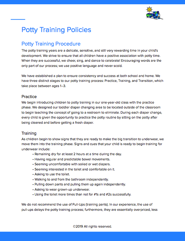 Potty Training Policies