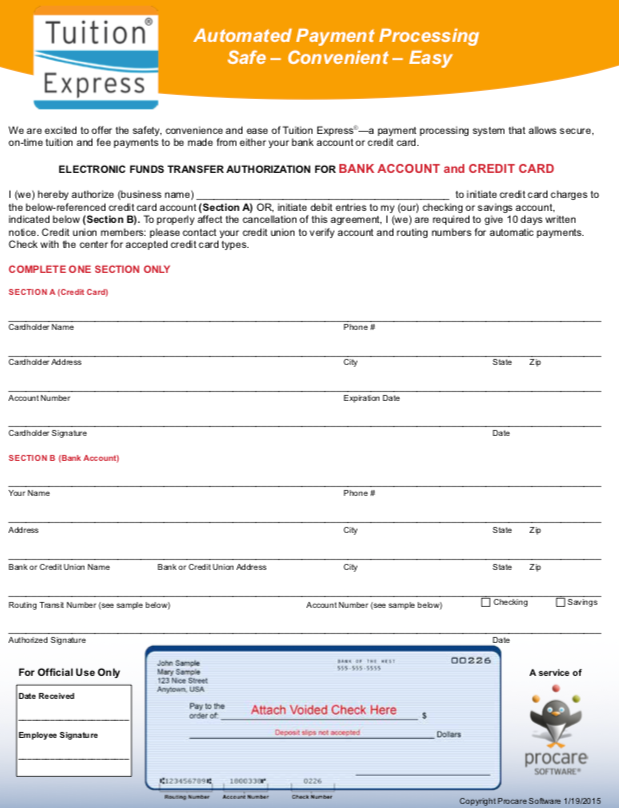 Required Tuition Express Enrollment Form