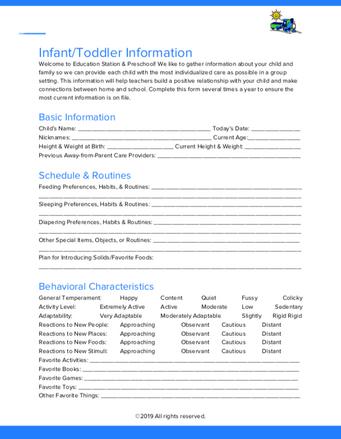 Infant/Toddler Information Sheet