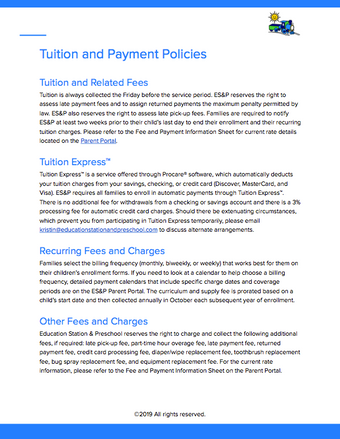 Tuition and Payment Policies