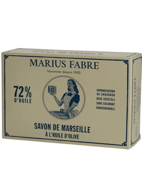 Box of 6 Marseille soaps in olive oil