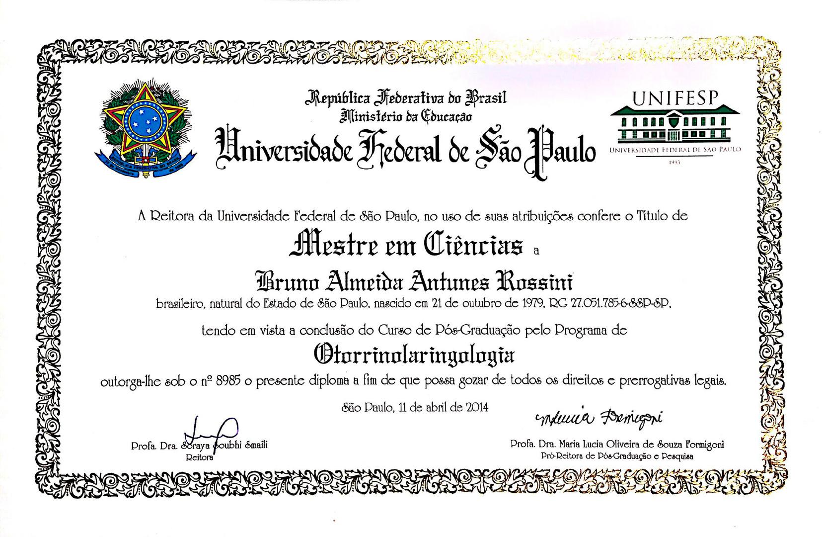 Diploma de Mestrado