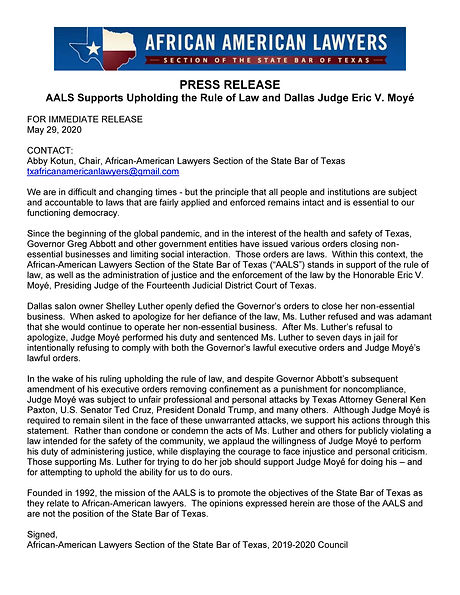 Press Release - AALS Supports Upholding