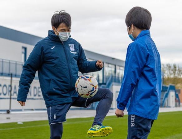 柴崎選手と練習