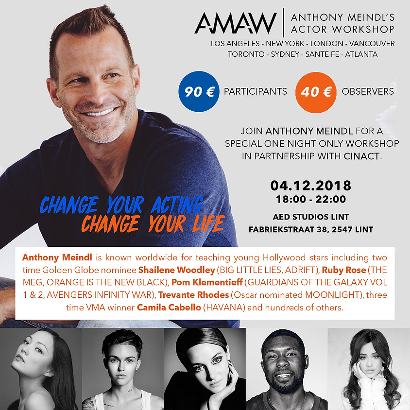 AMAW Hollywood acting teacher in Belgium for a workshop!