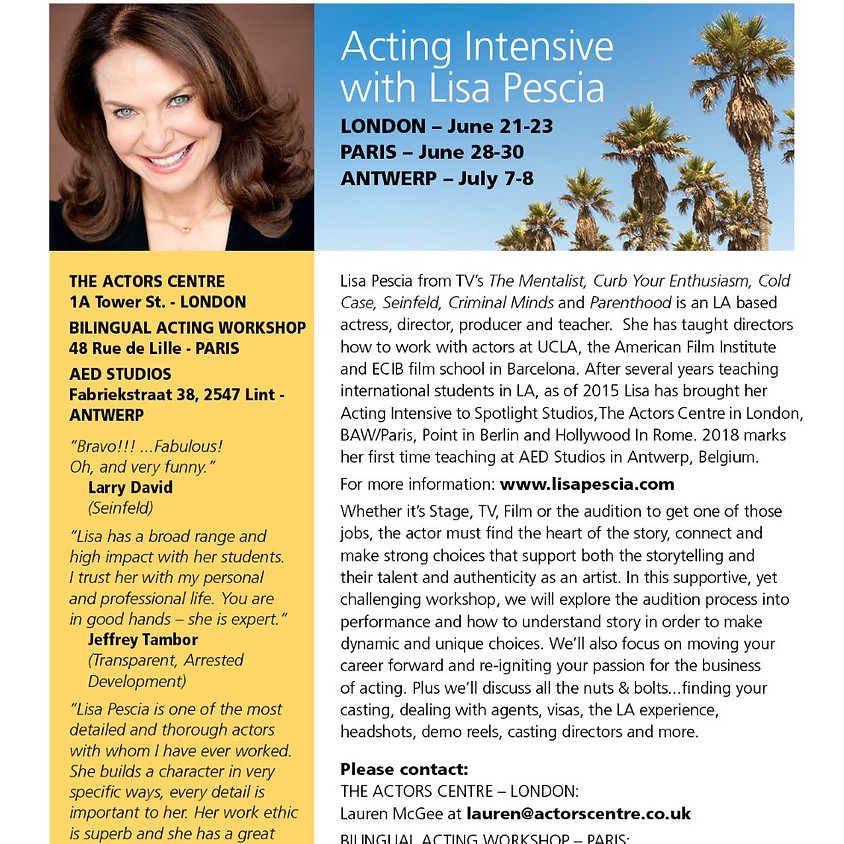 Hollywood teachter in Belgium :Workshop auditioning to Performance
