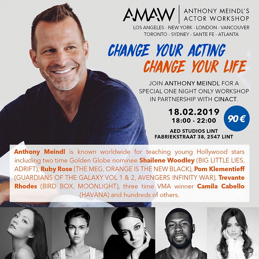 AMAW Hollywood acting teacher in Belgium for a workshop! NEW DATE