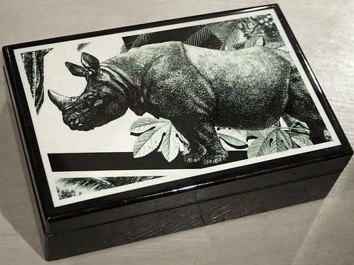 Scatola con motivo Rinoceronte in Legno Laccato  Nero