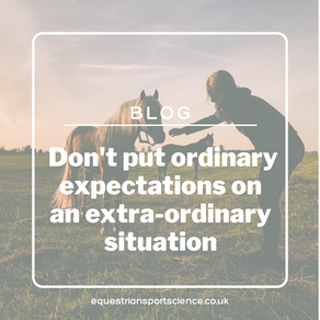 Don't put normal expectations on an extraordinary situation.