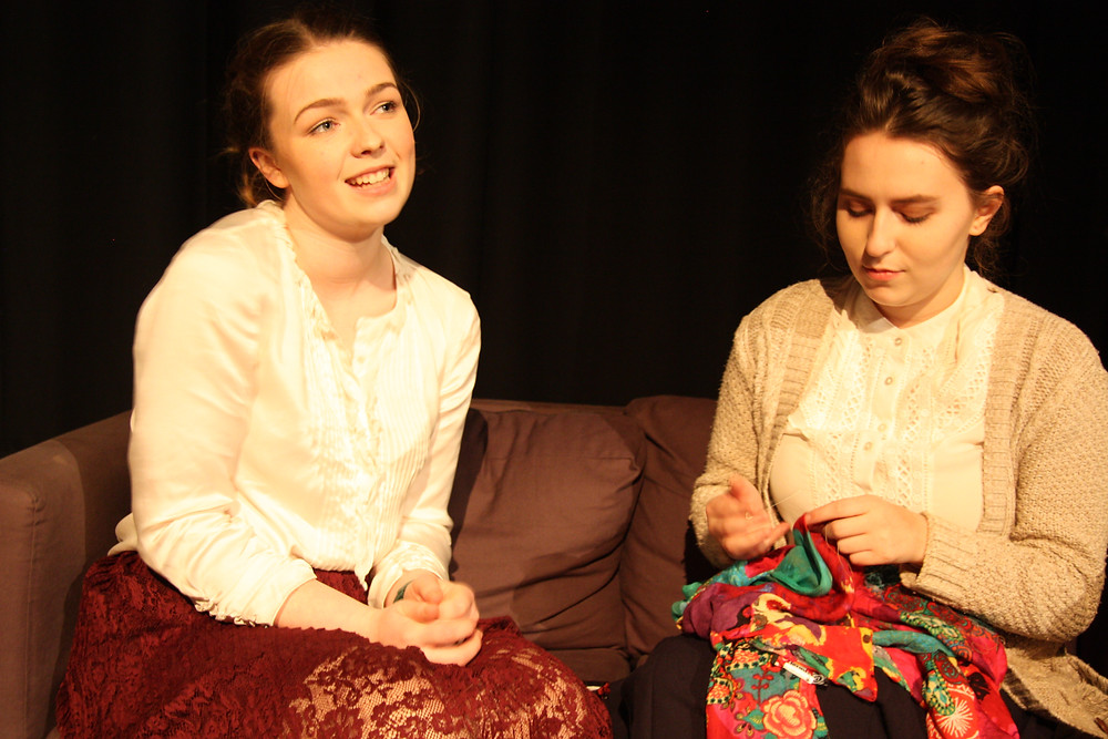 Caoimhe Battault (Nora) and Cat Coyle (Kristine) in Kildare Youth Theatre's production of 'A Doll's House' by Henrik Ibsen (Nov 2016, dir Evan Lynch)