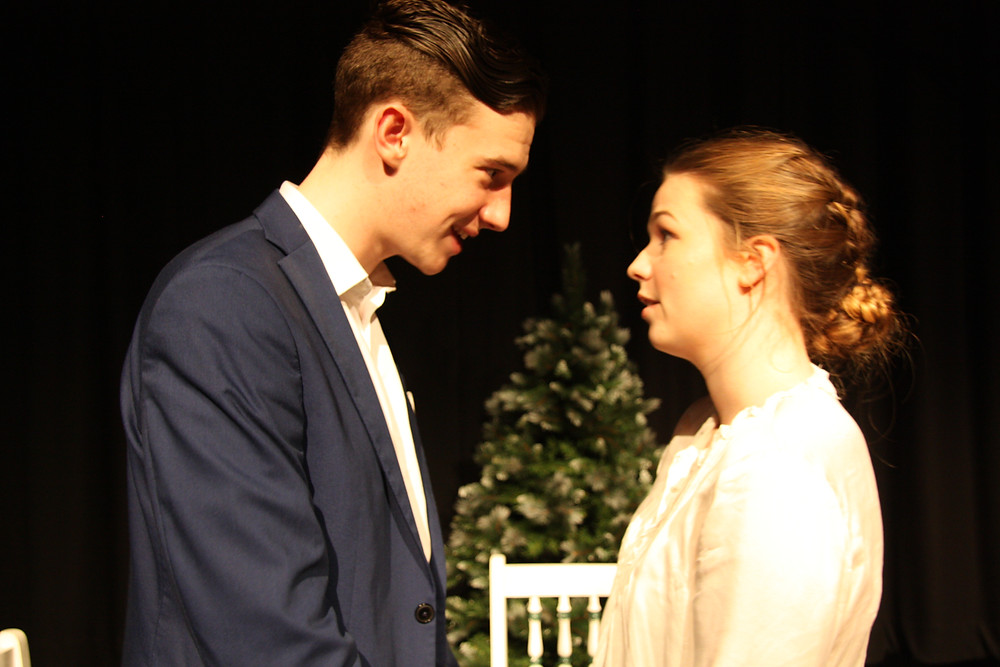 Elliot Nolan (Torvald) and Caoimhe Battault (Nora) in Kildare Youth Theatre's production of 'A Doll's House' by Henrik Ibsen (Nov 2016, dir Evan Lynch)