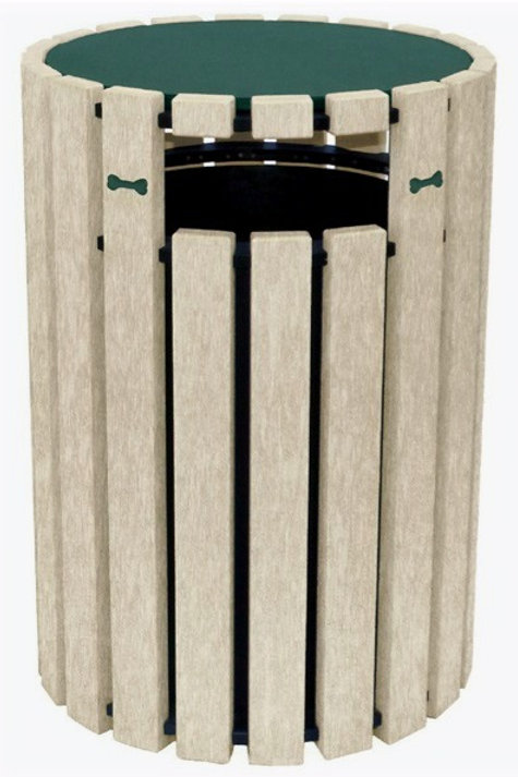 33 Gallon Poly Trash Receptacle with Bones- Green/Sand