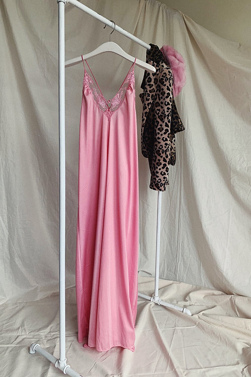 Lingerie Pink Slip Satin Dress
