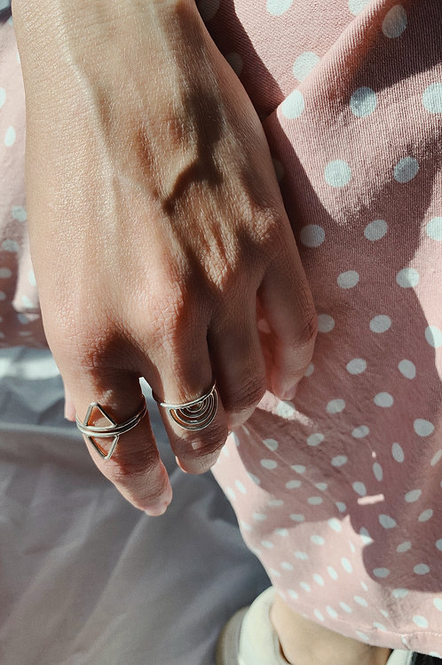 2 Triangles Silver Ring