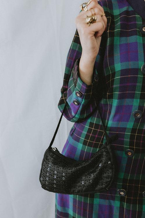 Vintage Black Fabric Baguette Bag