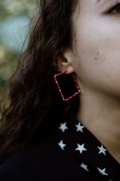 Red Splashed Squares Earrings
