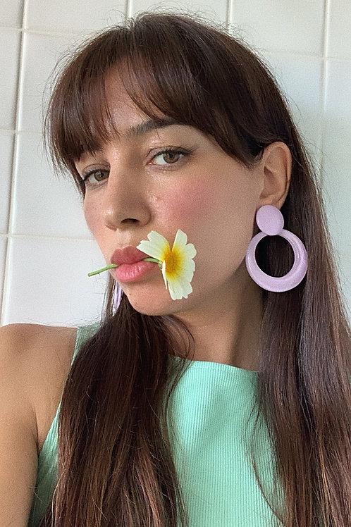 Resin Earrings In Lilac