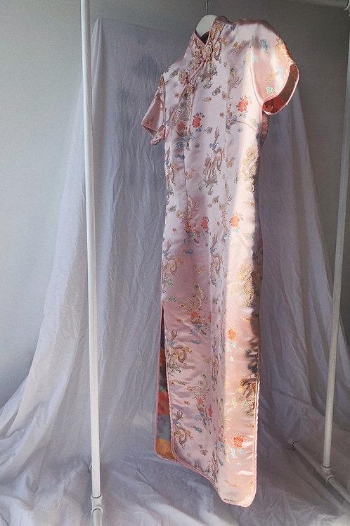 Vintage Midi Chinese Silk Dress